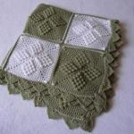 Bakla desenli yeşil beyaz battaniye modeli