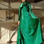 tesettür-abiye-yesil-ipek-saten-elbise