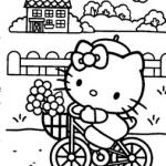 Hello-Kity-bisikletle-boyama-resimleri-sayfalari