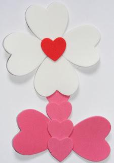 Evayla çiçek kalplerden çiçek yapımı