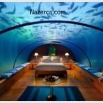 Akvaryum sarılı değişik yatak odası tasarımları