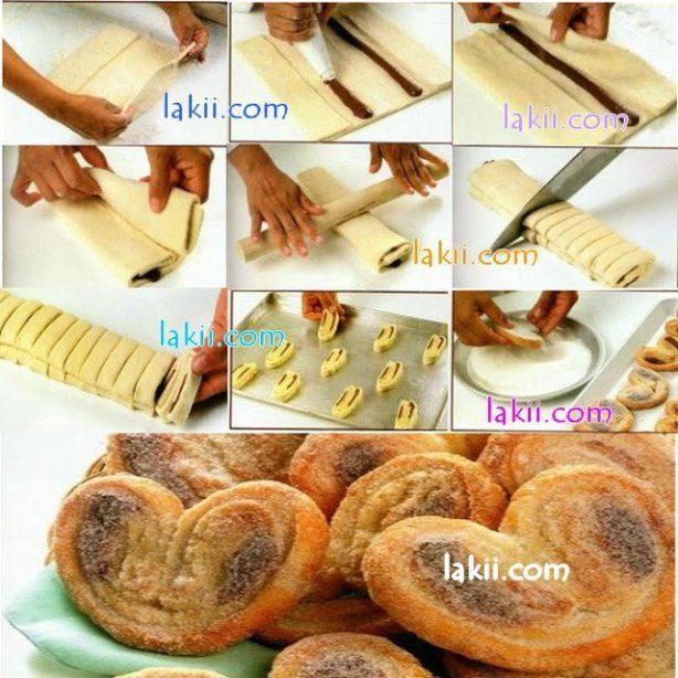 Çikplatalı-mifföy hamurundan-tatlı-çörek-yapılışı