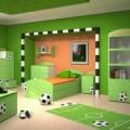 Futbol sahası gibi tasarlanmış yeşil çocuk odası takımı,futbol erkek çocuk odaları