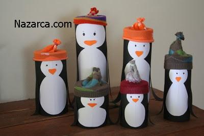 rulo-kartondan-penguen-ailesi