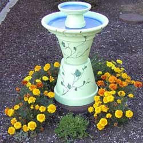Saksılardan Bahçeye Su havuzu susu