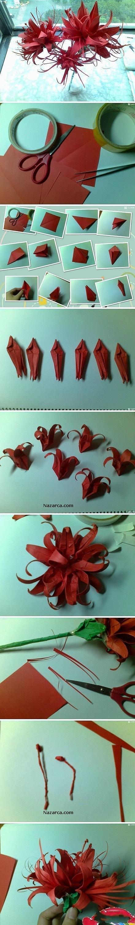 Fon kağıdından yapılan dekoratik çiçekleri