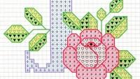 Harflerin Güllerle Desteklendiği X Etamin İşleme Şemaları