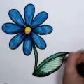 Blue-Daisy-Drawing-Lesson-kolay-papatya-cizmek