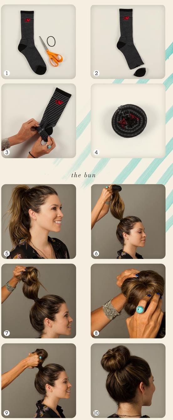 Как сделать бублик для волос из носка видео