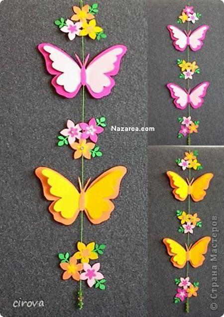 duvarlardaki-kagit-kelebekler-cicekler - Nazarca.com