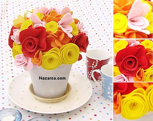 FELT FLOWERS İLE DEKORASYON
