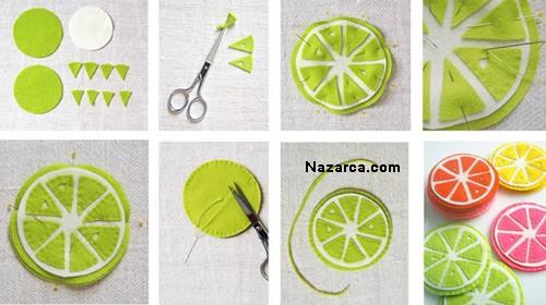porta copos de feltro frutas citricas artesanato
