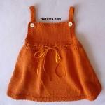 turuncu-belden-kurdeleli-askili-kolay-şiş-yazlik-kiz-cocuk-elbise-orme
