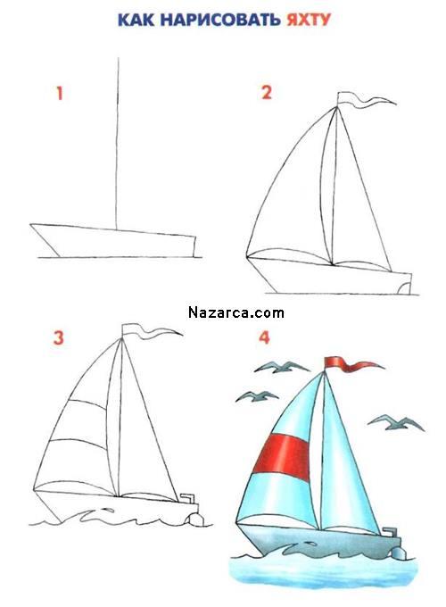 Yelkenli Gemi çizimleri Resimlere Göre Ara Red