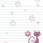 desenli-cicekli-uzerinde-kedi-olan-cizgili-mektup-kagidi