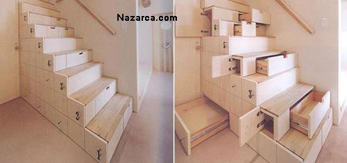 Ahşap Merdiven Altı çekmeceli tasarım
