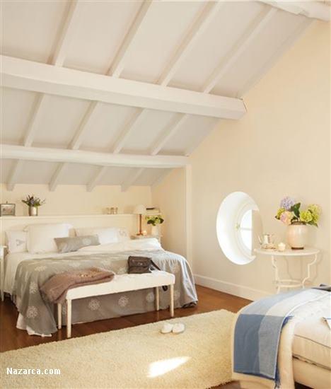 Yuvarlak pencereli cati kati yatak odasi dekorasyonu for Abuhardillado