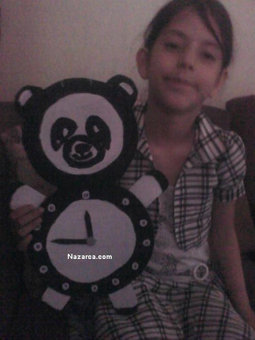 Kartondan Panda Şeklinde Saat