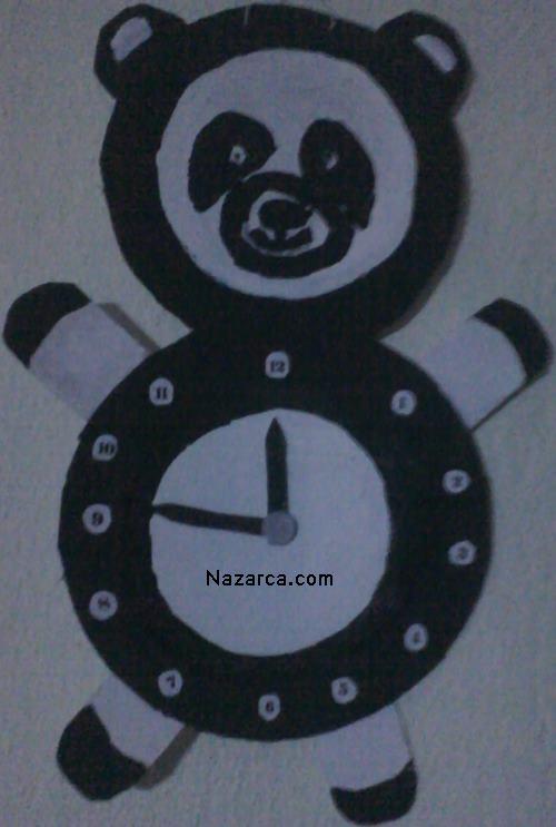 Kartonla Panda Saat Yapımı