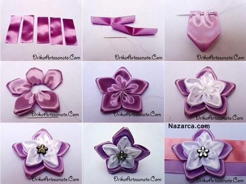 Цветы из лент простые