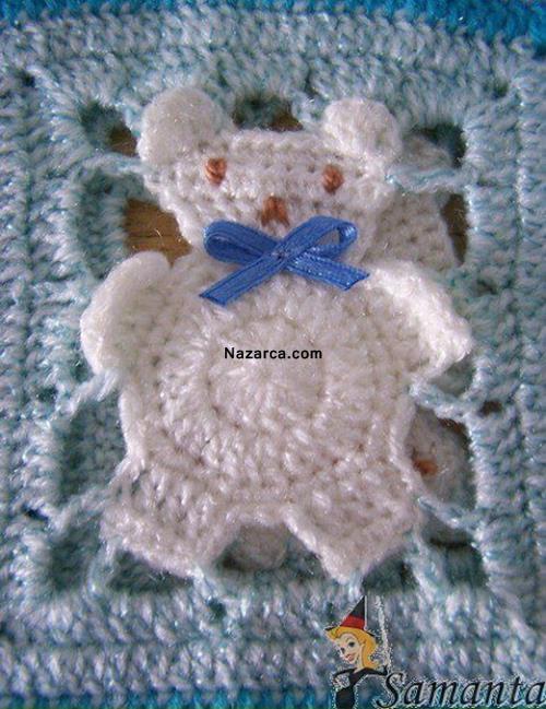 Üzerinde Ayılı Motif Olan Bebek Battaniyesi Motifleri