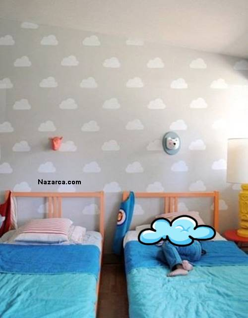 çocuk Ve Bebek Odalarina Duvar Boyasi Bulut Yapilişi Nazarcacom