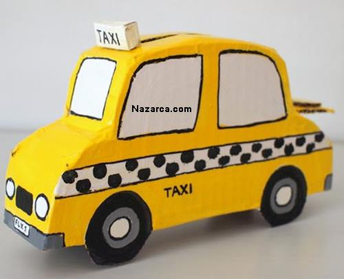 Taksi şeklinde Kartondan Kumbara Nazarcacom