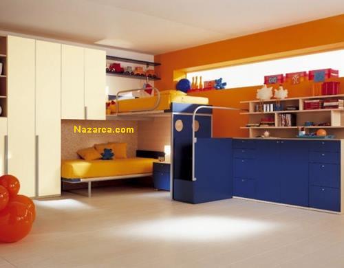 sari-mavi-turuncu-duvar-boyali-cocuk-odasi-ranzali