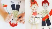 Kumaş Elbiseli Kağıt Bebekler