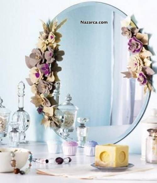 Keçe Ile çiçekli Zarif Ayna Dekorasyonu Nazarcacom