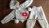 Videolu Örgü Bebek Takımı Hırkalı Ve Pantolonlu