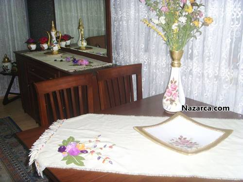 dekoratif keçe masa örtüsü