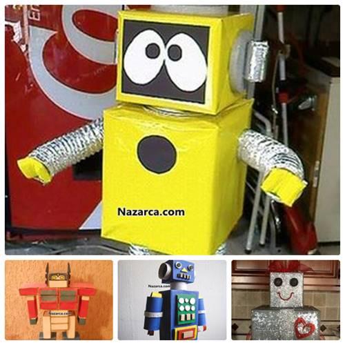 KARTONDAN YAPILAN 30 TANE ROBOT MAKETLERİ