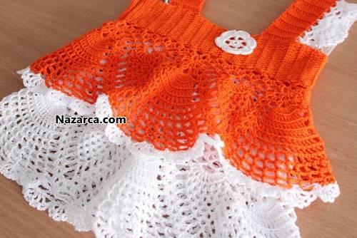 tigla-orulen-turuncu-beyaz-yazlik-orgu-bebek-elsbisesi-1