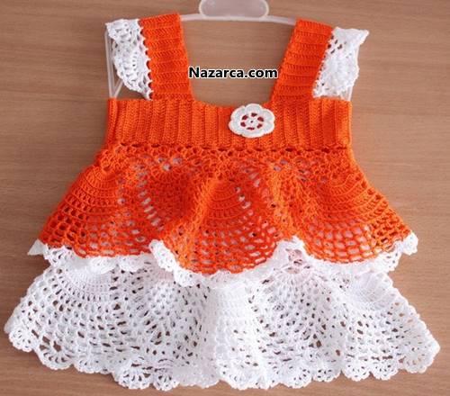 tigla-orulen-turuncu-beyaz-yazlik-orgu-bebek-elsbisesi
