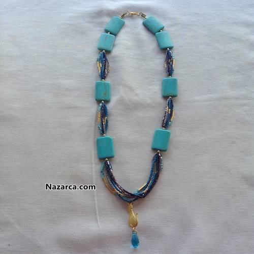 Satılık mavi taşlı Kolye 60 lira