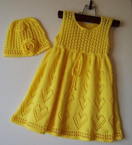 sari-bereli-kalp-desenli-kiz-cocuk-elbise