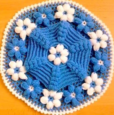 Puf Çiçekli Mavi Lif Modeli Yapılışı Açıklamalı Videolu 86