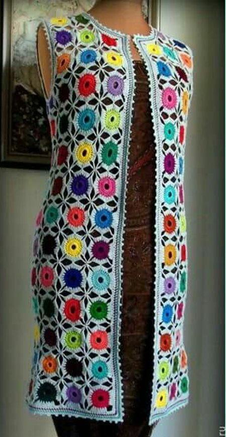 renkli-yuvarlak-motifli-uzun-tunik-bayan-yelek