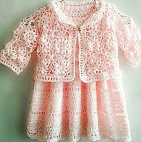 cicek-motifli-pembe-bolero-bebek-elbise