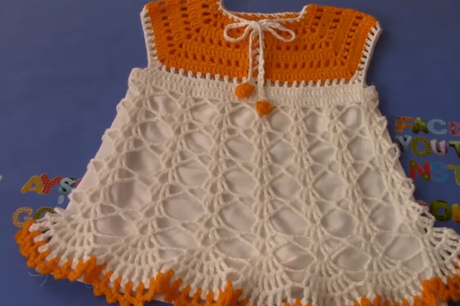 astarli-turuncu-beyaz-bebek-elbise