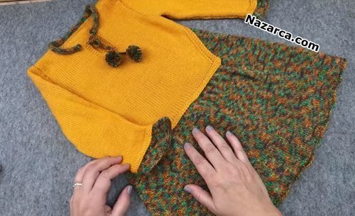 sari-kazakli-ponponlu-orgu-tasarim-elbise