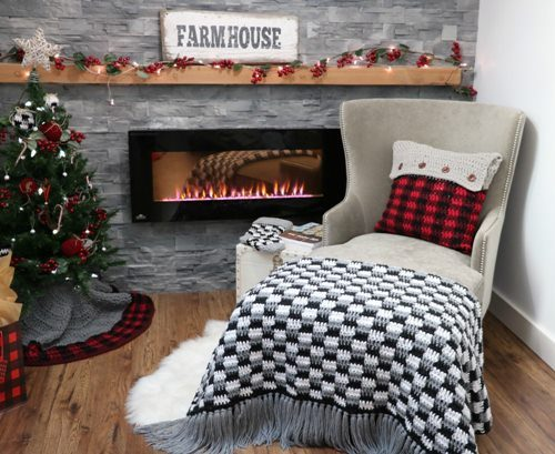 Crochet- Farmhouse- Plaid -Throw- Blanket