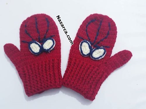 crochet-braid-spiderman -child mitt