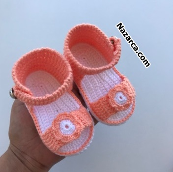turuncu-beyaz-bebek-orme-terlik