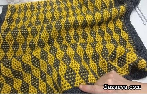 baklava-desenli-sis-model-sari-gri-bebek-battaniyesi
