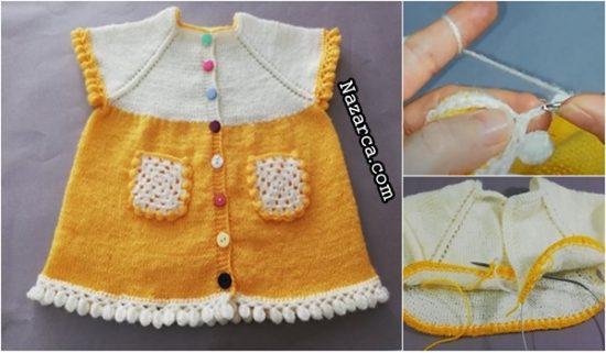 sari-beyaz-sis-model-cepli-bebek-elbise