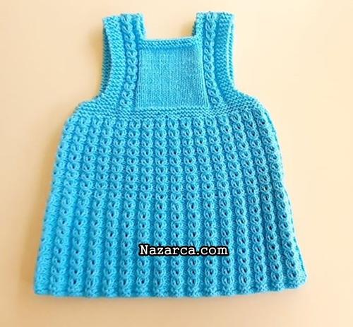 orgu-kahve-cekirdekli-mavi-bebek-elbisesi