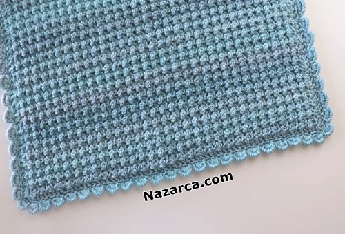 Crochet -Easy- Blue -Baby -Blanket