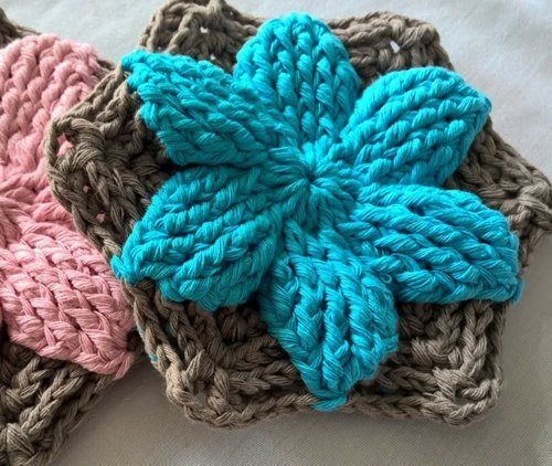 Crochet -floral -hexagon- in- two-colours